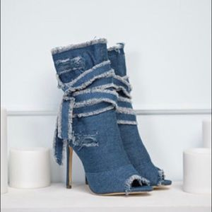 Shoes - Distressed Denim Boots